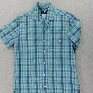 Psycho Bunny Plaid Short Sleeve Button Down Shirt